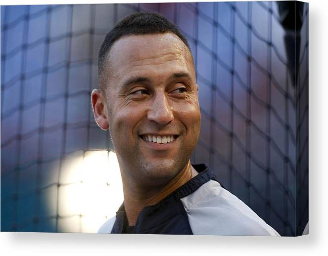 People Canvas Print featuring the photograph Derek Jeter by Ronald C. Modra/sports Imagery