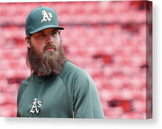American League Baseball Canvas Print featuring the photograph Derek Parks by Jim Rogash