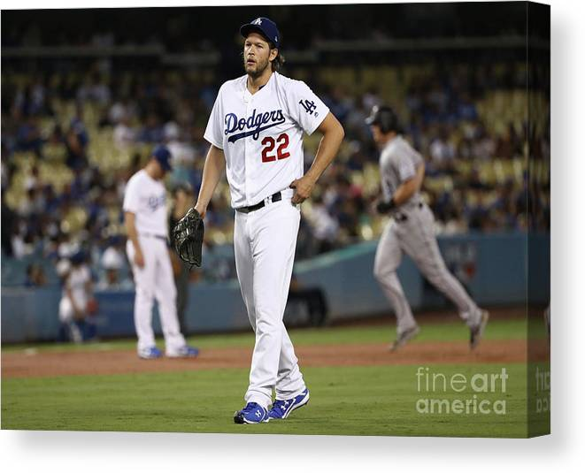 People Canvas Print featuring the photograph Dj Lemahieu and Clayton Kershaw by Victor Decolongon