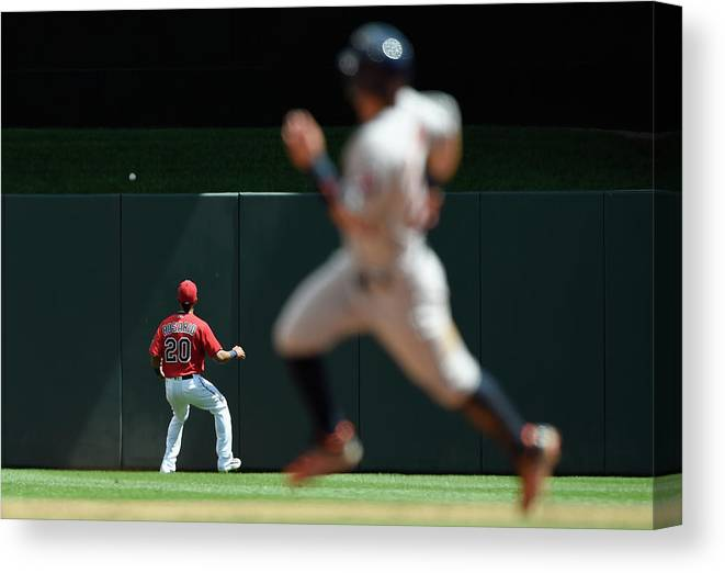 People Canvas Print featuring the photograph Eddie Rosario and Carlos Correa by Hannah Foslien
