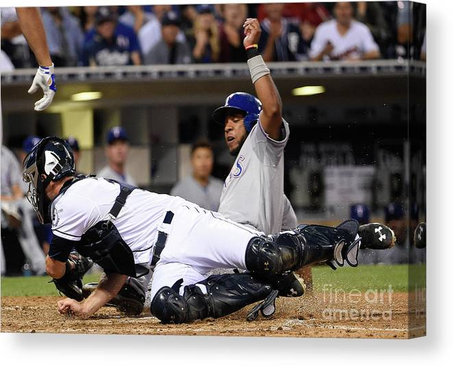 People Canvas Print featuring the photograph Elvis Andrus and Austin Hedges by Denis Poroy