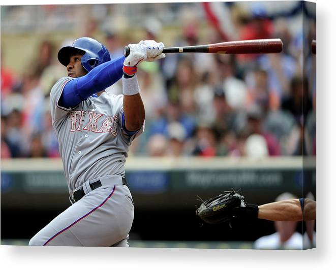 American League Baseball Canvas Print featuring the photograph Elvis Andrus by Hannah Foslien