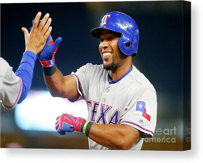 Ninth Inning Canvas Print featuring the photograph Elvis Andrus by Jim Mcisaac