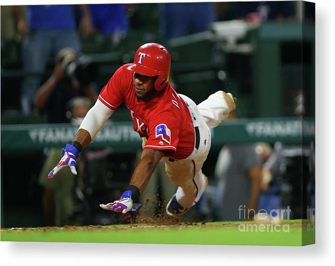 Ninth Inning Canvas Print featuring the photograph Elvis Andrus by Rick Yeatts
