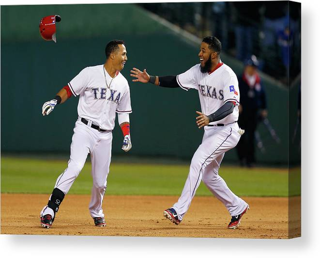 Ninth Inning Canvas Print featuring the photograph Elvis Andrus by Tom Pennington