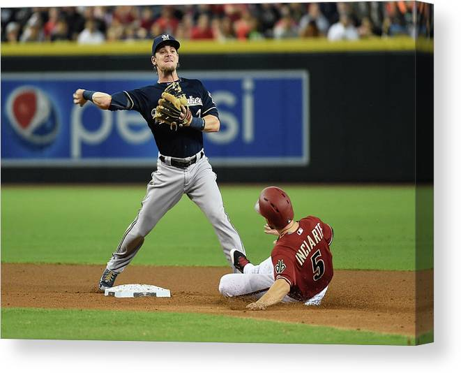 Double Play Canvas Print featuring the photograph Ender Inciarte by Norm Hall