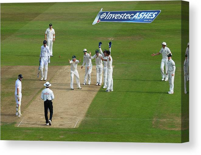 England Canvas Print featuring the photograph England v Australia: 1st Investec Ashes Test - Day Three by Laurence Griffiths