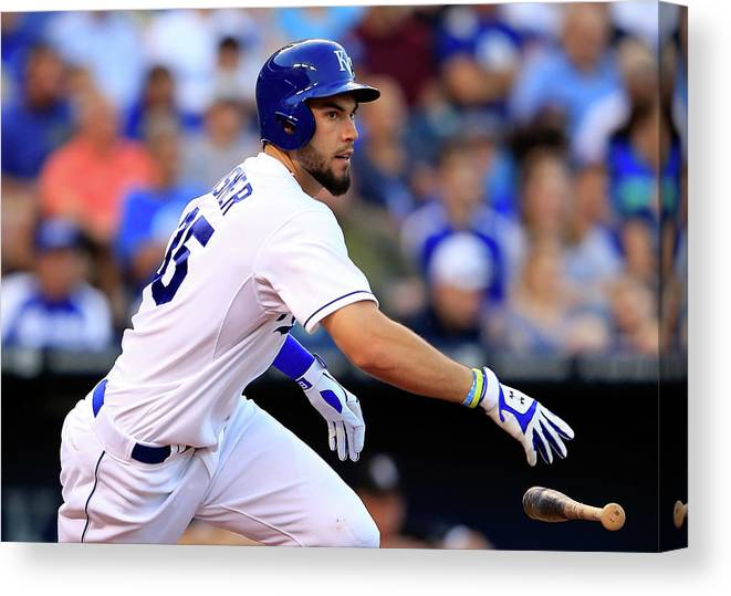 American League Baseball Canvas Print featuring the photograph Eric Hosmer by Jamie Squire