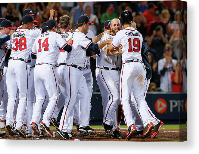 Atlanta Canvas Print featuring the photograph Evan Gattis and Dan Uggla by Kevin C. Cox