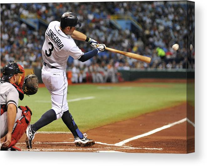 Second Inning Canvas Print featuring the photograph Evan Longoria by Al Messerschmidt