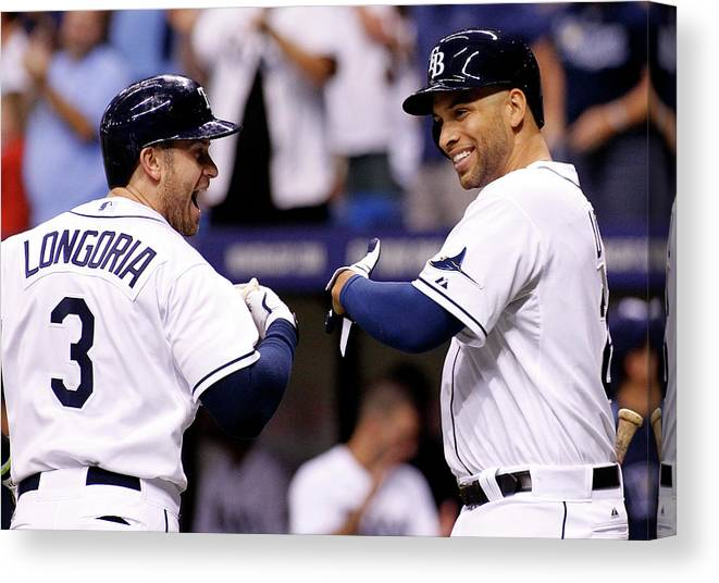 American League Baseball Canvas Print featuring the photograph Evan Longoria and James Loney by Brian Blanco