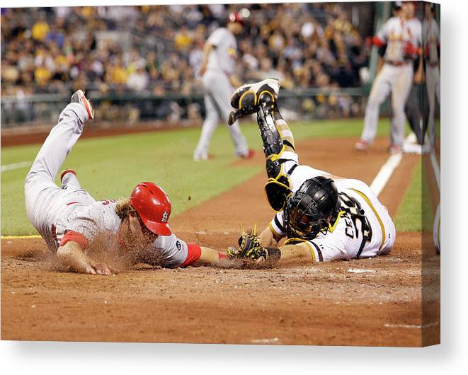 St. Louis Cardinals Canvas Print featuring the photograph Francisco Cervelli and Mark Reynolds by Justin K. Aller