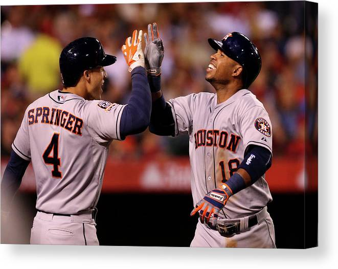 People Canvas Print featuring the photograph George Springer and Luis Valbuena by Stephen Dunn