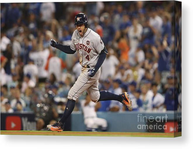 Game Two Canvas Print featuring the photograph George Springer by Christian Petersen