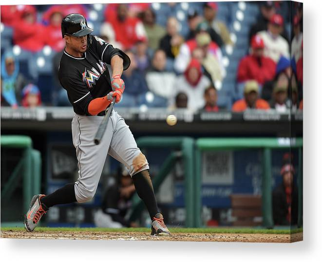 People Canvas Print featuring the photograph Giancarlo Stanton by Drew Hallowell