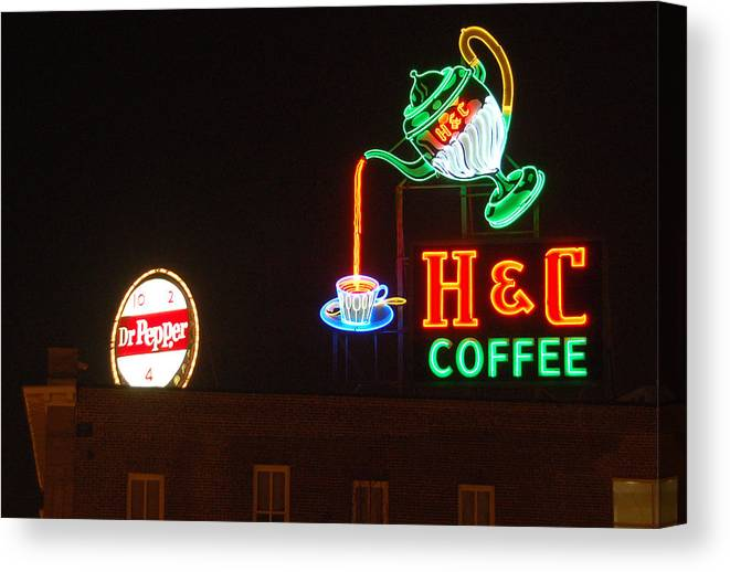 H C Coffee Canvas Print featuring the photograph H and C Coffee Sign Roanoke Virginia by Suzanne Gaff