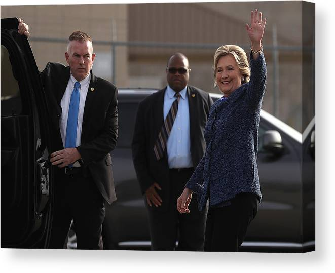 Nominee Canvas Print featuring the photograph Hillary Clinton Holds Early Voting Rallies In Iowa by Justin Sullivan