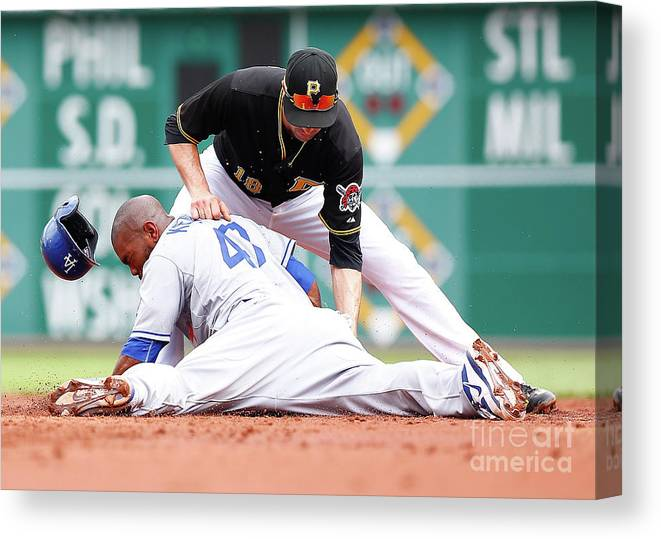 Second Inning Canvas Print featuring the photograph Howie Kendrick and Neil Walker by Jared Wickerham