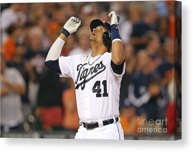 American League Baseball Canvas Print featuring the photograph Ian Kinsler, Miguel Cabrera, and Victor Martinez by Leon Halip