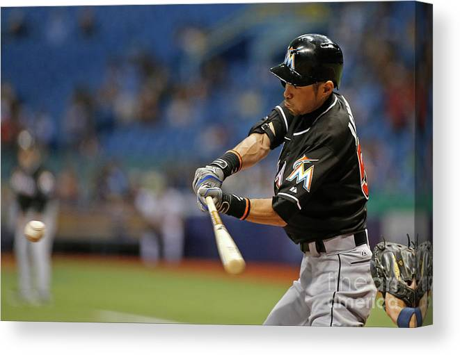 Three Quarter Length Canvas Print featuring the photograph Ichiro Suzuki and Tim Beckham by Brian Blanco