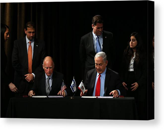 Research Canvas Print featuring the photograph Israeli Prime Minister Netanyahu Meets With California Gov. Jerry Brown In San Francisco by Justin Sullivan
