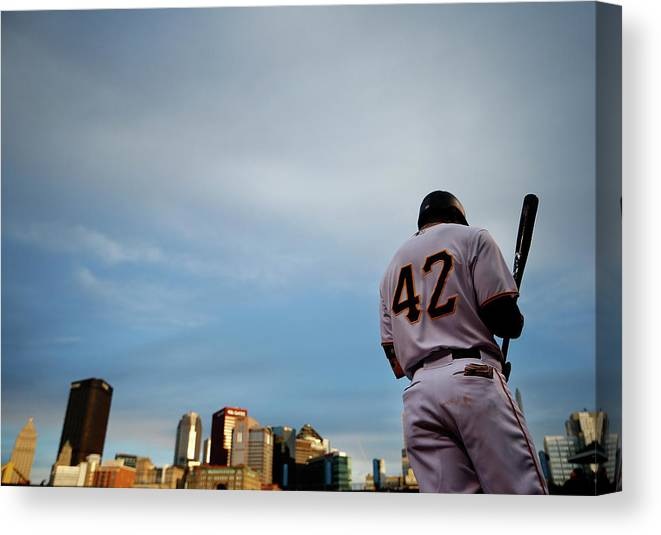 Second Inning Canvas Print featuring the photograph Jackie Robinson by Jared Wickerham
