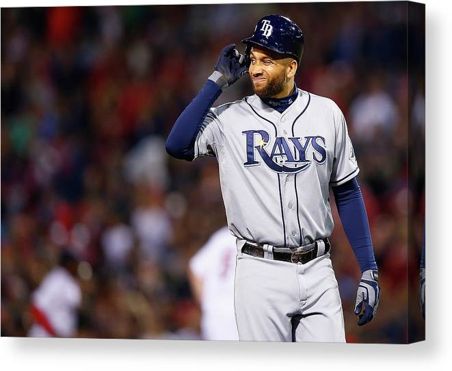 Double Play Canvas Print featuring the photograph James Loney by Jared Wickerham
