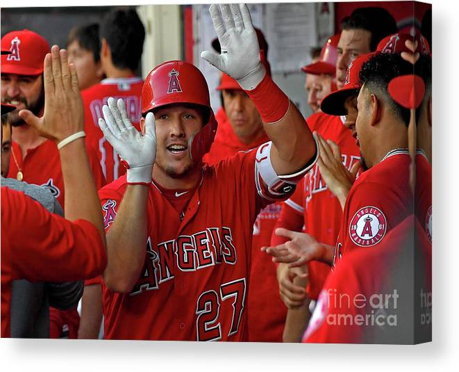 People Canvas Print featuring the photograph James Shields and Mike Trout by Jayne Kamin-oncea