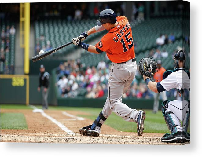 American League Baseball Canvas Print featuring the photograph Jason Castro by Otto Greule Jr