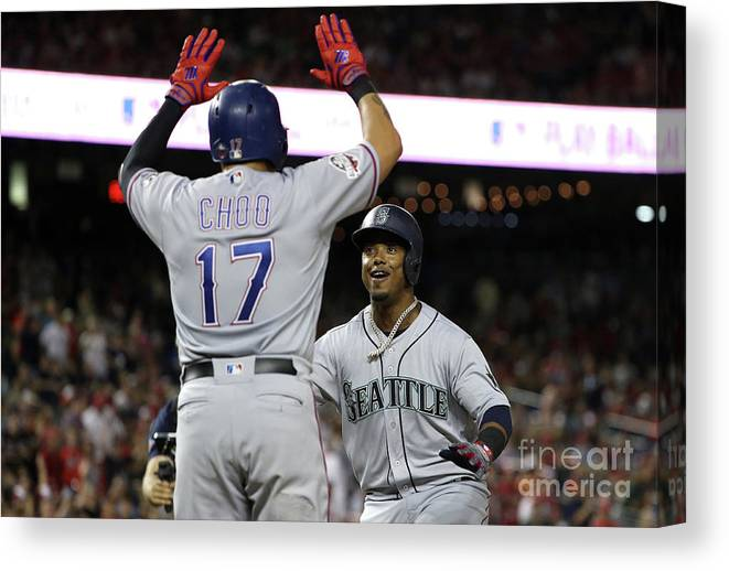 Three Quarter Length Canvas Print featuring the photograph Jean Segura and Shin-soo Choo by Patrick Smith