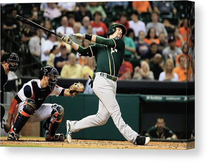 American League Baseball Canvas Print featuring the photograph Jed Lowrie by Scott Halleran