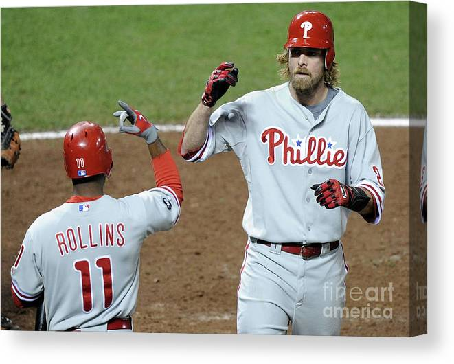 Playoffs Canvas Print featuring the photograph Jimmy Rollins and Jayson Werth by Harry How