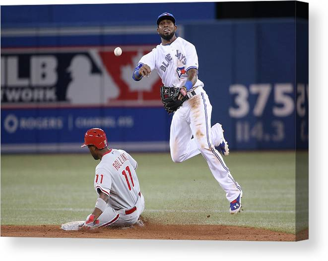 American League Baseball Canvas Print featuring the photograph Jimmy Rollins and Jose Reyes by Tom Szczerbowski