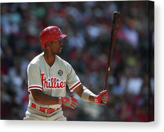 National League Baseball Canvas Print featuring the photograph Jimmy Rollins by Christian Petersen