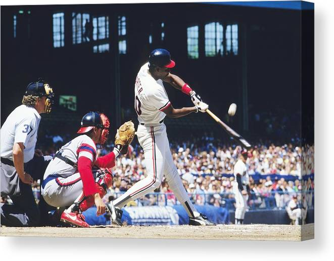 1980-1989 Canvas Print featuring the photograph Joe Carter by Ronald C. Modra/sports Imagery