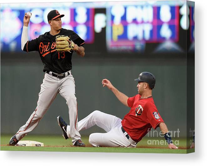 Double Play Canvas Print featuring the photograph Joe Mauer and Manny Machado by Hannah Foslien