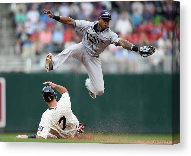 Joe Mauer Canvas Print featuring the photograph Joe Mauer and Tim Beckham by Hannah Foslien