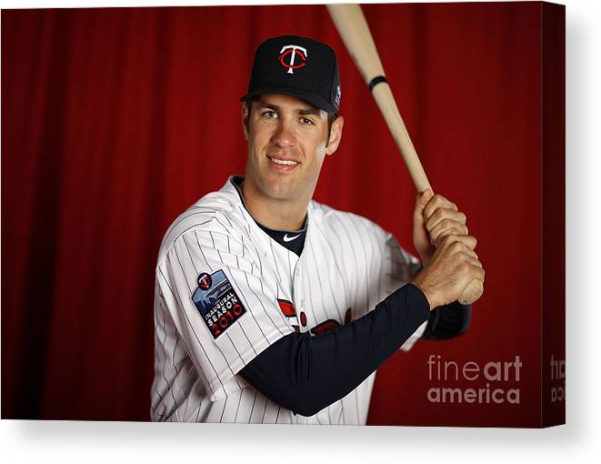 Media Day Canvas Print featuring the photograph Joe Mauer by Gregory Shamus