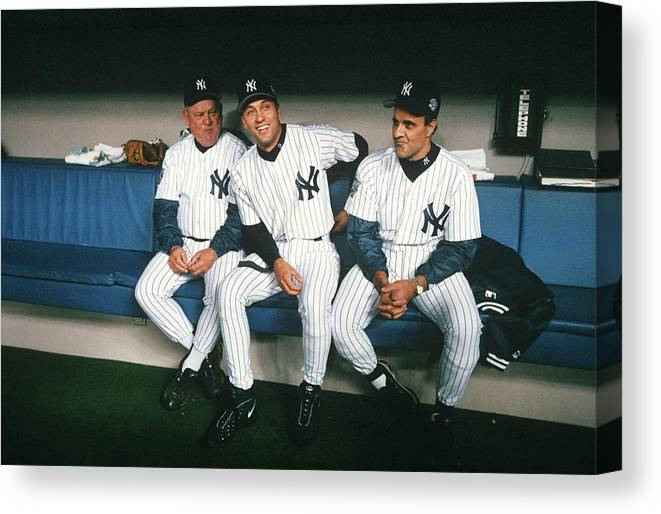 American League Baseball Canvas Print featuring the photograph Joe Torre, Derek Jeter, and Don Zimmer by Rich Pilling