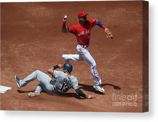 Double Play Canvas Print featuring the photograph Joey Gallo and Troy Tulowitzki by Tom Szczerbowski