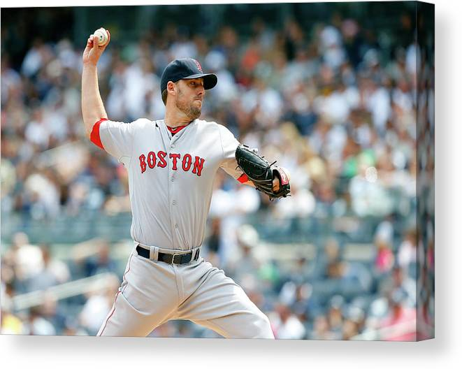 American League Baseball Canvas Print featuring the photograph John Lackey by Jim Mcisaac
