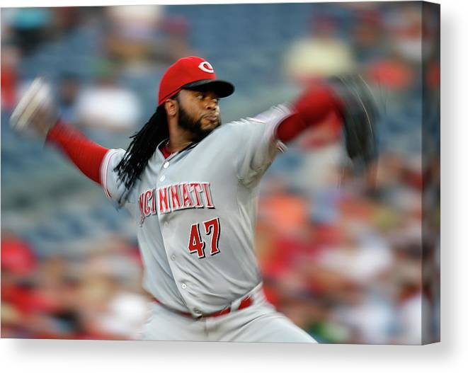 Three Quarter Length Canvas Print featuring the photograph Johnny Cueto by Rob Carr