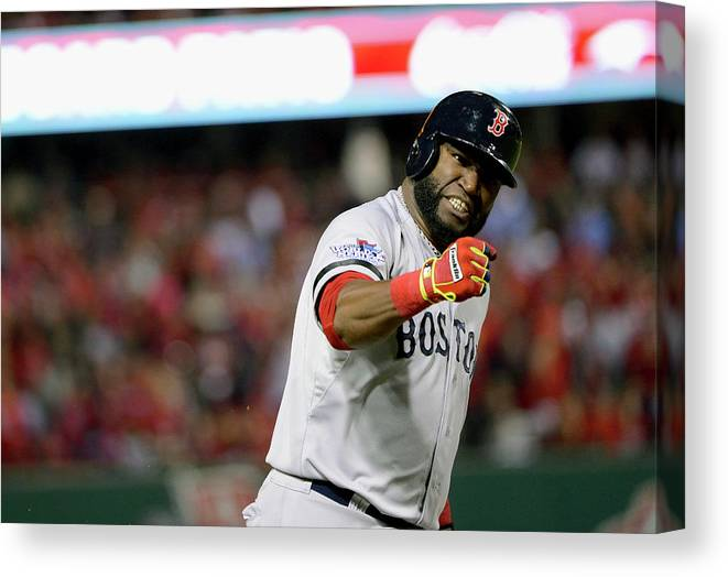 Playoffs Canvas Print featuring the photograph Jonny Gomes and David Ortiz by Ron Vesely