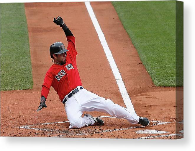 American League Baseball Canvas Print featuring the photograph Jonny Gomes and Dustin Pedroia by Jim Rogash