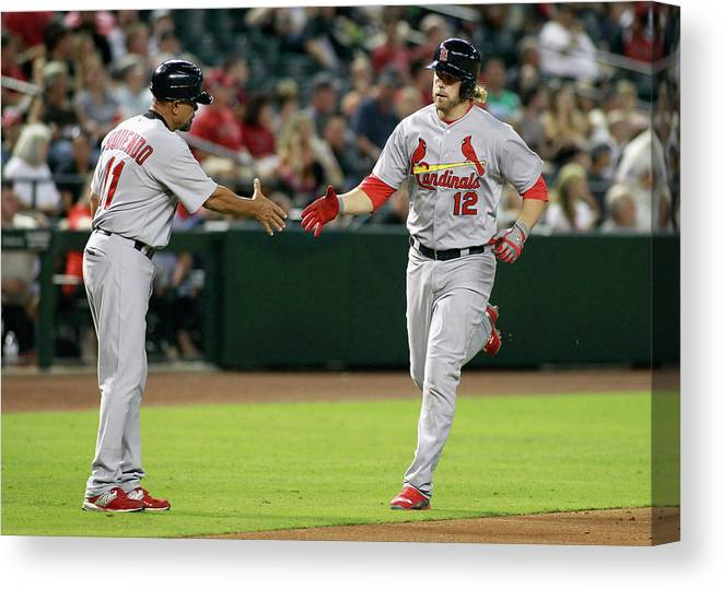 St. Louis Cardinals Canvas Print featuring the photograph Jose Oquendo and Mark Reynolds by Ralph Freso