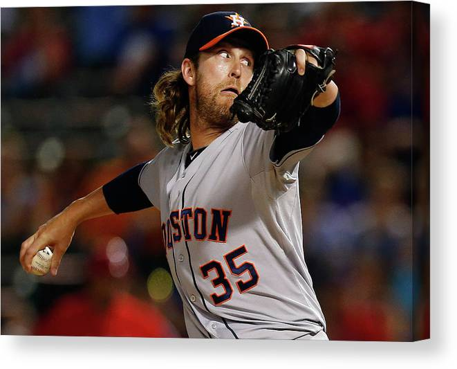 American League Baseball Canvas Print featuring the photograph Josh Fields by Tom Pennington