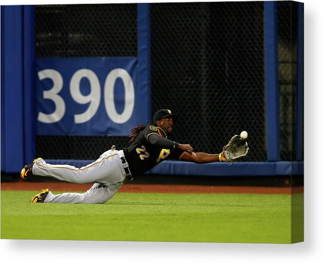 Ball Canvas Print featuring the photograph Juan Lagares and Andrew Mccutchen by Jim Mcisaac
