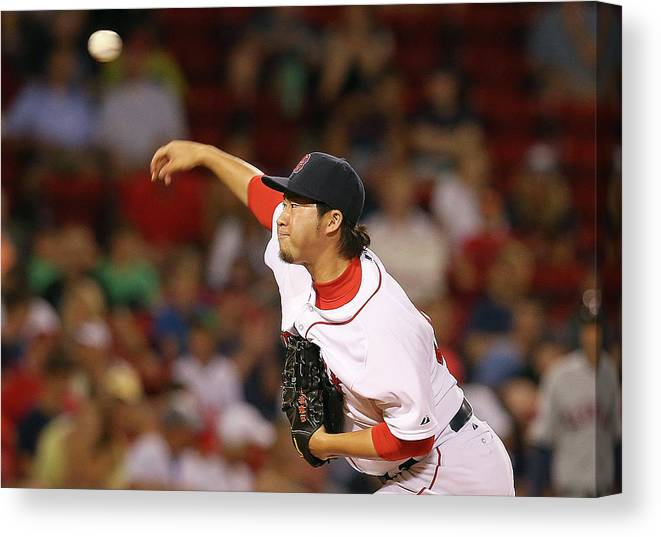 Three Quarter Length Canvas Print featuring the photograph Junichi Tazawa by Jim Rogash