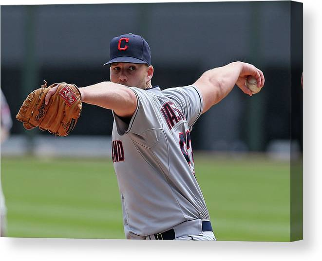American League Baseball Canvas Print featuring the photograph Justin Masterson by Jonathan Daniel