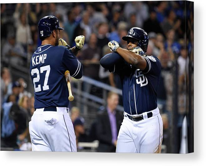 Three Quarter Length Canvas Print featuring the photograph Justin Upton and Matt Kemp by Denis Poroy